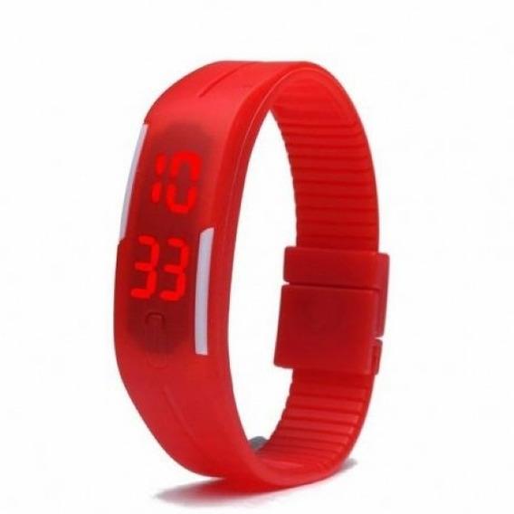 Relógio Led Digital Sport Bracelete Pulseira Silicone - Verm