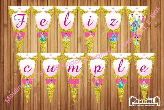 Princesas Glitter Dorado Banderines Feliz Cumple