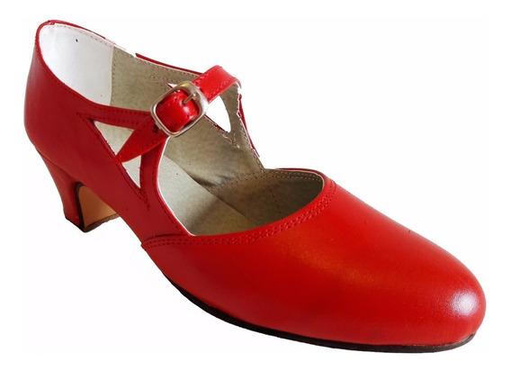 Zapatos Folklore, Español, Tango, Jazz, Danza En Cuero Rojo