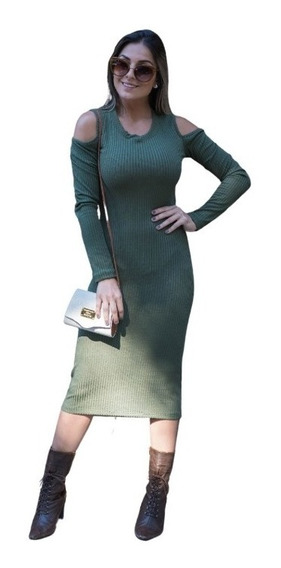 Vestido Midi Justo Acinturado Canelado Roupas Femininas