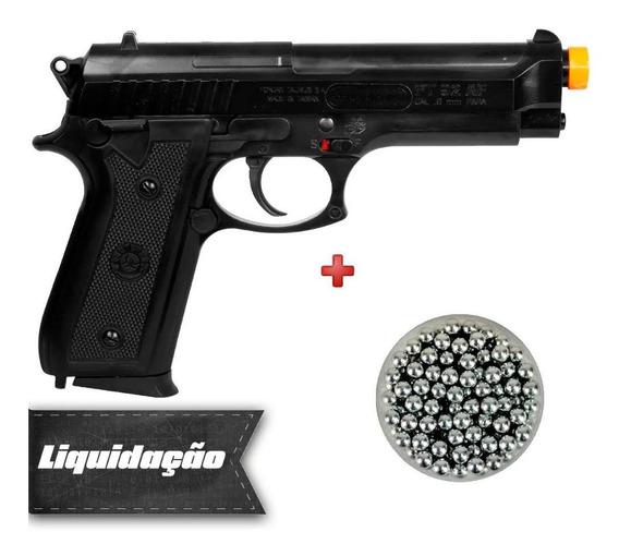 Pistola Spring Airsoft Taurus Pt92 + Esferas De Alumínio 6mm