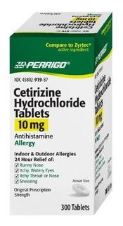 Perrigo Cetirizina Hidrocloruro Tabletas De 10 Mg 300count