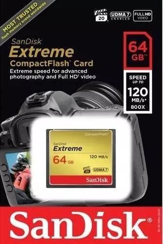 Cartão Memória 64gb Compact Flash Sandisk Cf Extreme 120mb/s 800x Lacrado + Nota Fiscal + 12 X Sem Juros