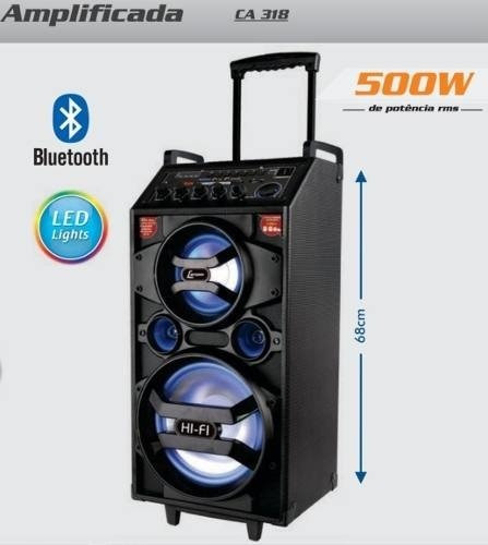 Caixa Amplificada Acústica Som Lenoxx Ca-318 500w Ativa Usb