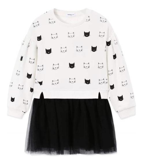 Vestido Infantil Hello Kitty Moletom E Saia Bailarina Tule
