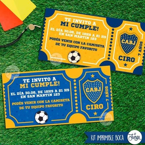Imagen 1 de 5 de Kit Imprimible Boca Juniors Cumple Candy Texto Editable