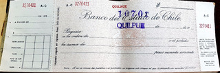 Antiguo Cheque Del Banco Del Estado De Chile 1958