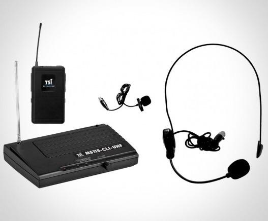 Microfone Sem Fio Tsi Ms 115 Cli Headset E Lapela Uhf