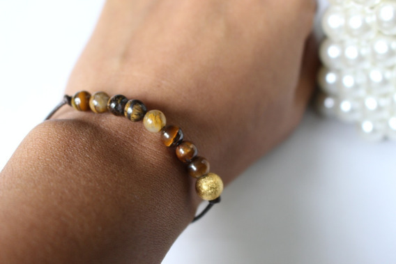 Pulseira Pedra Olho De Tigre E Bolinha Dourada - 5mm