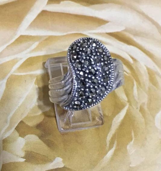 Anel De Prata 925 E Marcassita Aro 20 (diametro 2cm) Novo