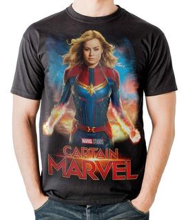 Camiseta Capitã Marvel Carol Danvers Filme Stamp For All