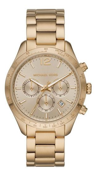Relógio Michael Kors Feminino Cronógrafo Dourado Mk6795/1dn