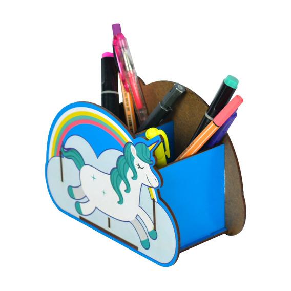 Porta Canetas E Lápis Decorativo Mdf - Unicornio