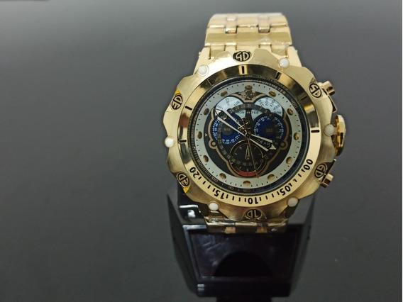 Relógio Dourado De Pulso Masculino Grande Dourado Luxo