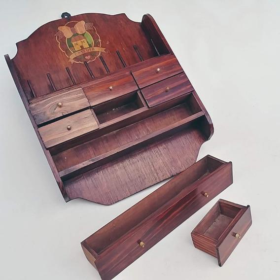 Armario Parede Antiguidade Madeira Porta Linhas Costura Raro