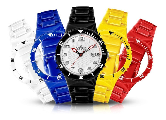 Kit 5 Relógio Troca Pulseira Coloridas + Bateria Brinde