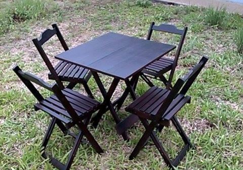 Jogos De Mesas De Bar 80x80 + 4 Cadeiras Dobrável
