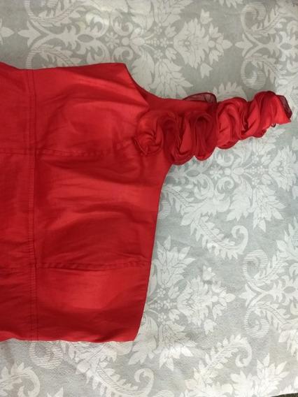 Vestido Rojo De Fiesta Corto, Largo 90cm, Ancho 32 Cm.