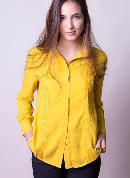 Camisa De Dama Color Mostaza
