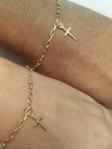 Kit Pulseira Namorados Casal Banhado A Ouro Pingente Cruz