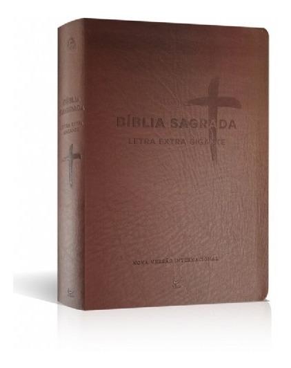 Bíblia Sagrada Nvi Letra Extra Gigante Luxo Marrom