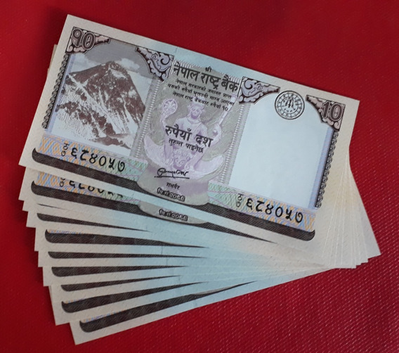 Set 10 Cedulas Nepal 10 Rupees 2012 - Fe