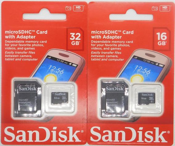 2 Cartão De Memória 100% Original Sandisk 32gb E 16gb