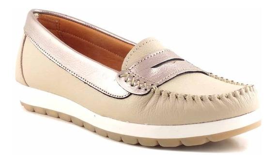Mocasin Zapato Cuero Mujer Combinada Briganti Goma Mcmo03587