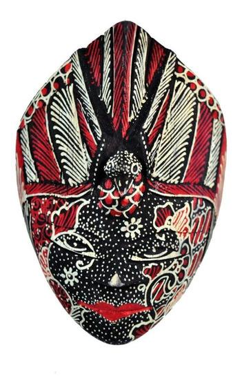 Mascara Batik Tribal Em Madeira - Pavão - Pequena - Vermelha