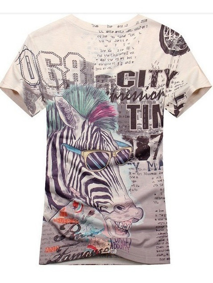 Camisa Camiseta Manga Curta Estampa Zebra Estilosa 2014
