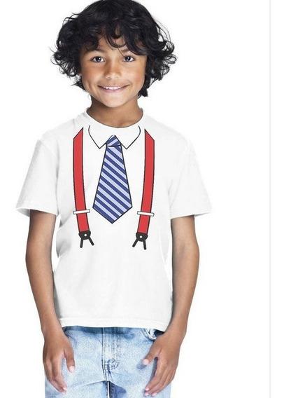 Camiseta Infantil Personalizada Gravata Engraçada Nova