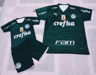 Camiseta Masculina Conjunto Infantil Palmeiras Filho E Pai
