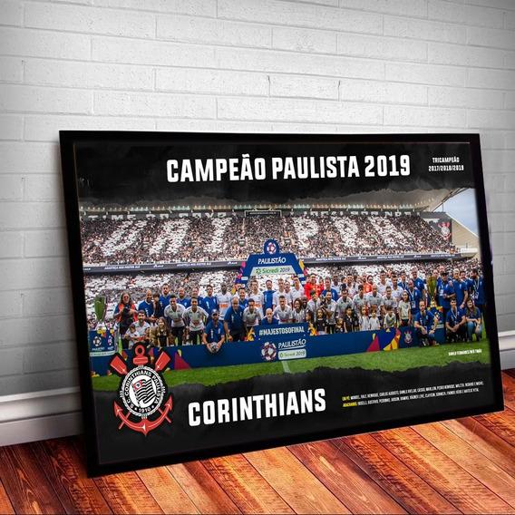 Quadro C/ Vidro Poster Corinthians Campeão Paulista 2019
