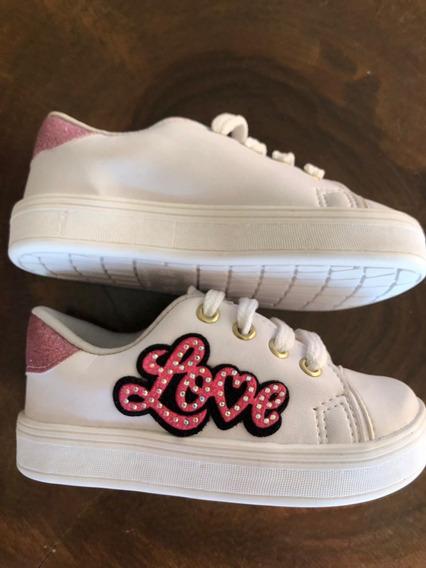 Tênis Infantil Love Com Gliter - Dindons