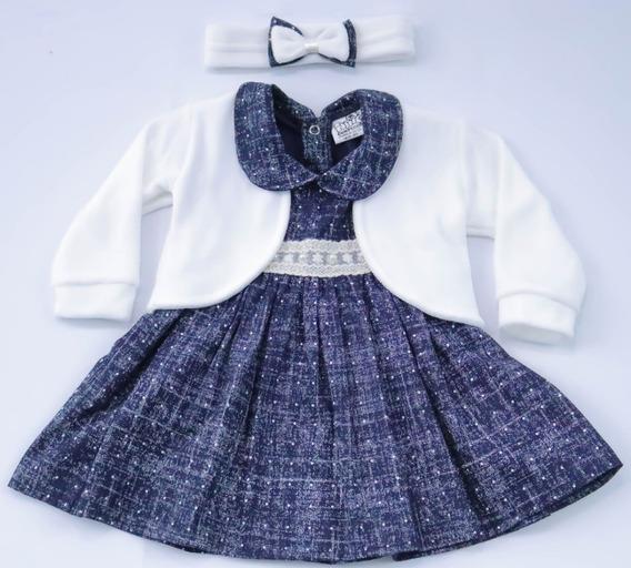 Vestido De Bebe Com Bolero E Tiara 100% Algodão