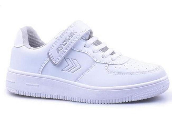 Zapatillas Colegial Atomik Cambridge Velcro Blanco Gris