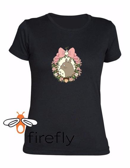 Remera Mi Vecino Totoro Mujer Negro Coleccion 1 Firefly