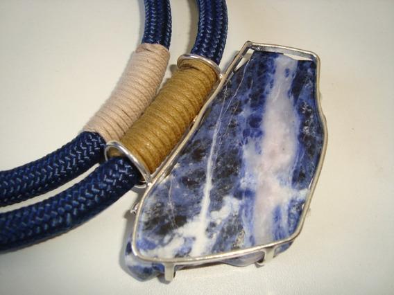 Colar De Corda Náutica E Chapa De Pedra Sodalita Azul 1