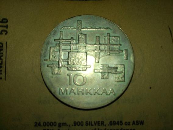 Antigua Moneda De Finlandia - Plata - 10 Markkaa - Año 1967