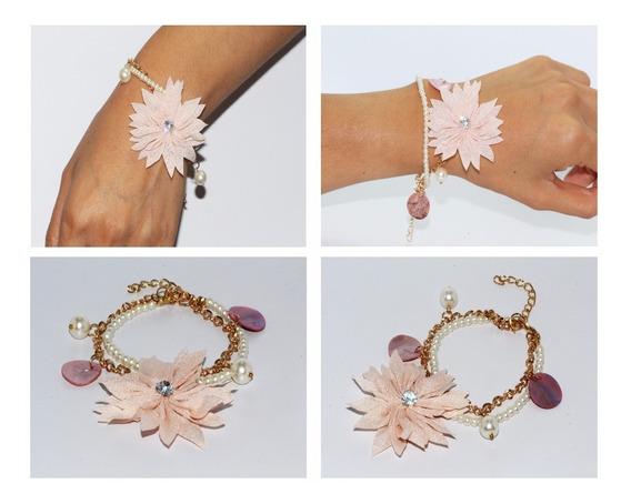 Pulsera Moda Casual Listón Perlas Y Flor Rosa Pc158