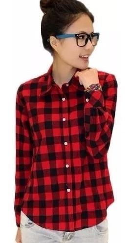 Varias Estampas Blusa Camisa Feminina Xadrez Top Importa