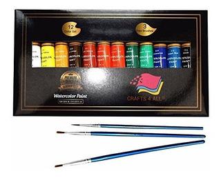 Caja De Acuarelas Artesanias 4 Todo Con 12 Piezas De Pintura