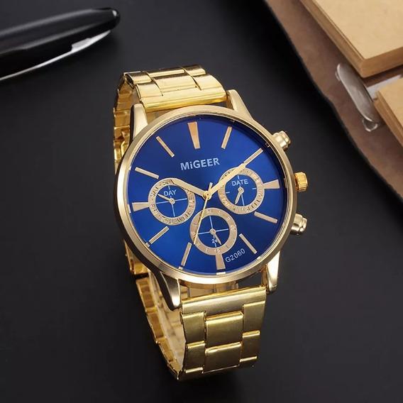 Relógio Masculino Dourado Ótima Qualidade Bom Bonito Barato