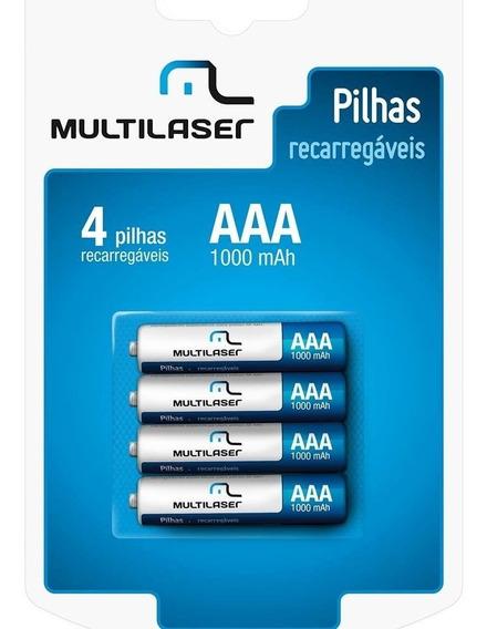 Pilhas Recarregáveis Multilaser Aaa 1000mah 4 Uni. Cb050