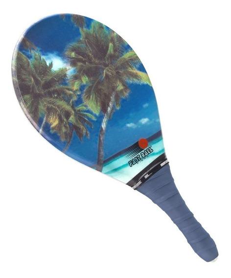 Raquete De Frescobol Fast Ball Fibra Rf039 Estampa Mar Coque