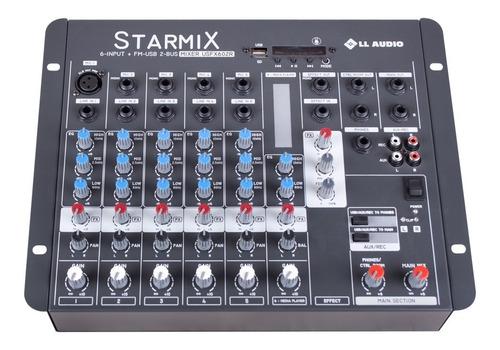 Mesa Som Mixer Ll Starmix Usfx602r 6ch Efeito Bluetooth Usb