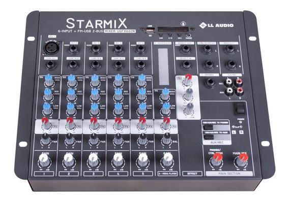 Mesa De Som Starmix Usfx602r 6 Canais Usb E Efeito Mp3 Nf-e