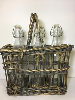 Set Botellas Tapón Hermético Con Canasta Porta Botellas