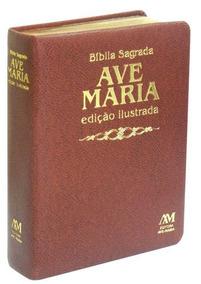 Bíblia Sagrada Edição Ilustrada Luxo Média Marrom