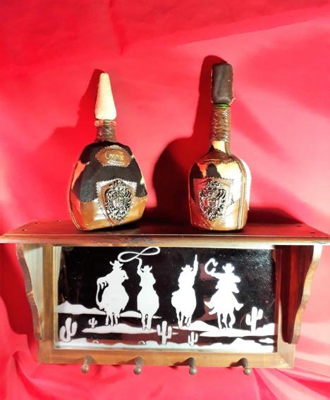 Licoreras Cognac Repisa Madera Piel De Vaca Vaqueros